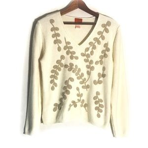 Hearts Of Palm Embroidered V Neck Sweater